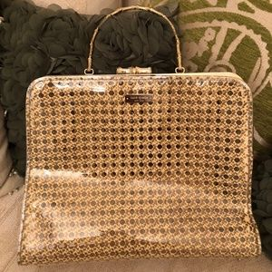 Kate Spade Gold & Clear Patent Wicker Hobo bag